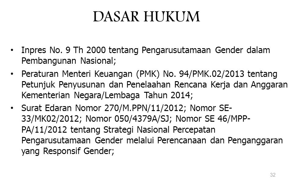 DASAR HUKUM Inpres No. 9 Th 2000 tentang Pengarusutamaan Gender dalam Pembangunan Nasional;