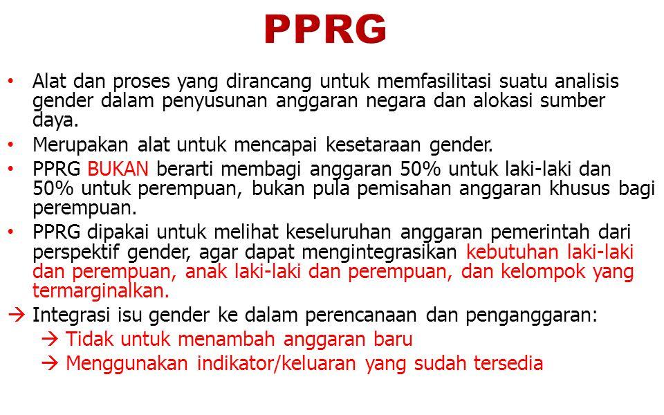 PPRG Alat dan proses yang dirancang untuk memfasilitasi suatu analisis gender dalam penyusunan anggaran negara dan alokasi sumber daya.