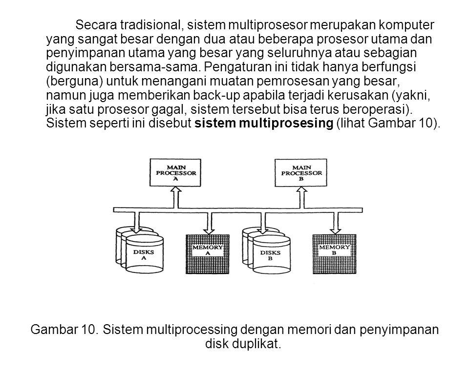 Secara tradisional, sistem multiprosesor merupakan komputer yang sangat besar dengan dua atau beberapa prosesor utama dan penyimpanan utama yang besar yang seluruhnya atau sebagian digunakan bersama-sama. Pengaturan ini tidak hanya berfungsi (berguna) untuk menangani muatan pemrosesan yang besar, namun juga memberikan back-up apabila terjadi kerusakan (yakni, jika satu prosesor gagal, sistem tersebut bisa terus beroperasi). Sistem seperti ini disebut sistem multiprosesing (lihat Gambar 10).