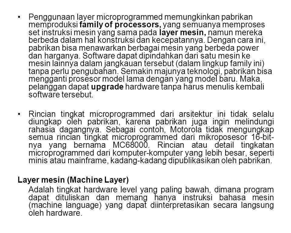 Penggunaan layer microprogrammed memungkinkan pabrikan memproduksi family of processors, yang semuanya memproses set instruksi mesin yang sama pada layer mesin, namun mereka berbeda dalam hal konstruksi dan kecepatannya. Dengan cara ini, pabrikan bisa menawarkan berbagai mesin yang berbeda power dan harganya. Software dapat dipindahkan dari satu mesin ke mesin lainnya dalam jangkauan tersebut (dalam lingkup family ini) tanpa perlu pengubahan. Semakin majunya teknologi, pabrikan bisa mengganti prosesor model lama dengan yang model baru. Maka, pelanggan dapat upgrade hardware tanpa harus menulis kembali software tersebut.