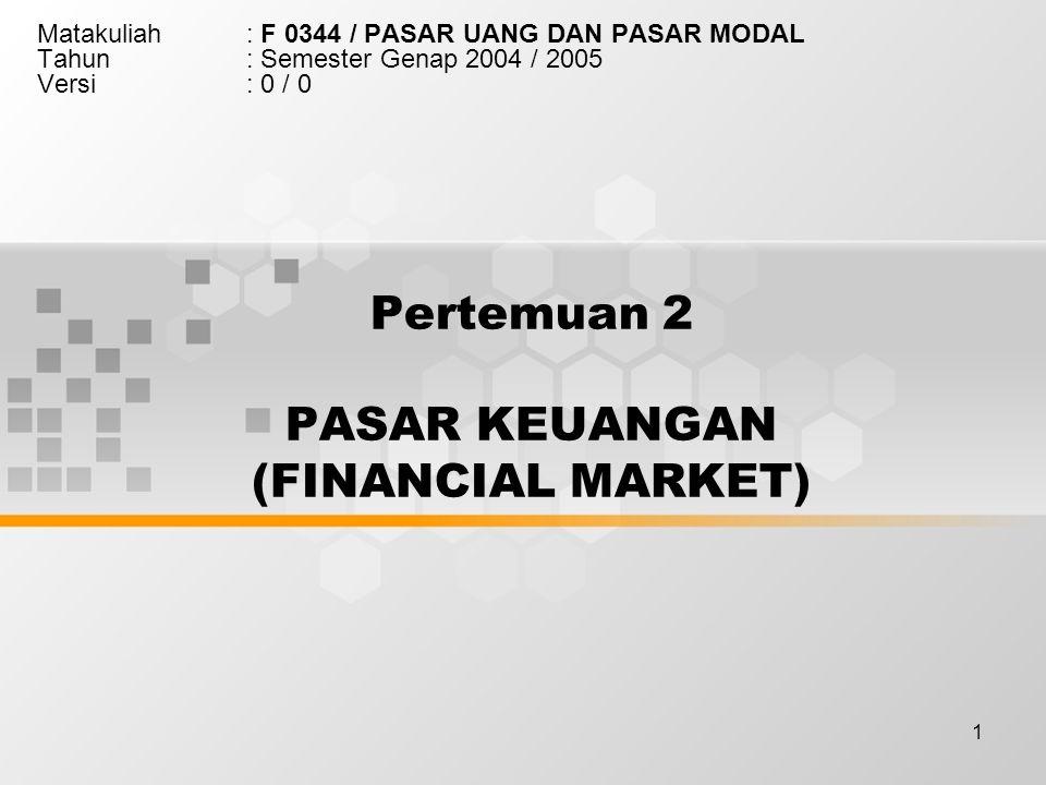 Pertemuan 2 PASAR KEUANGAN (FINANCIAL MARKET)
