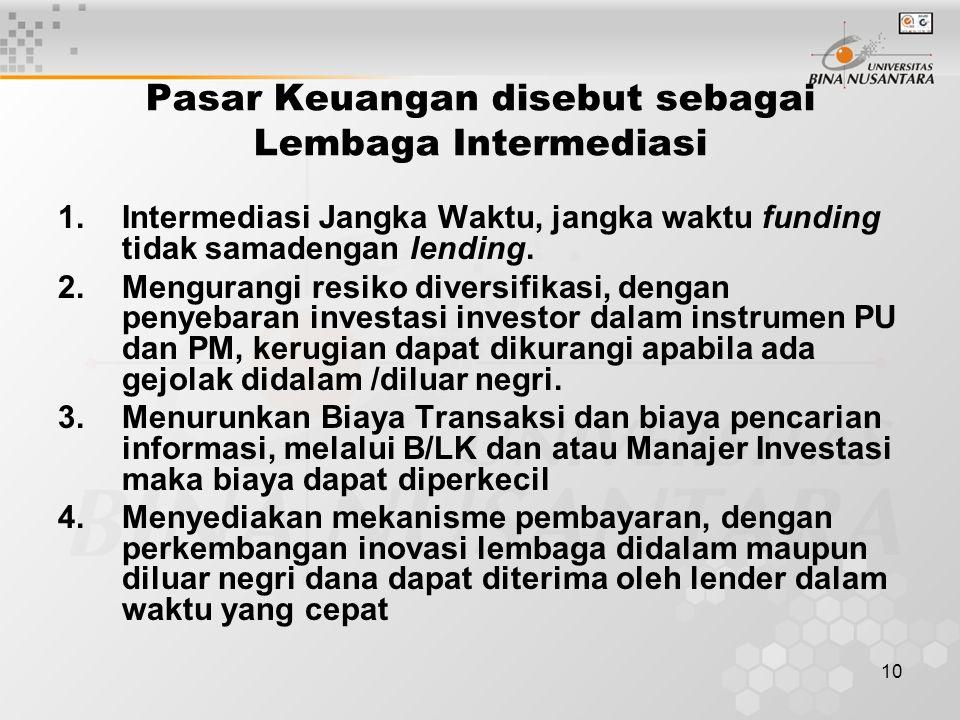 Pasar Keuangan disebut sebagai Lembaga Intermediasi