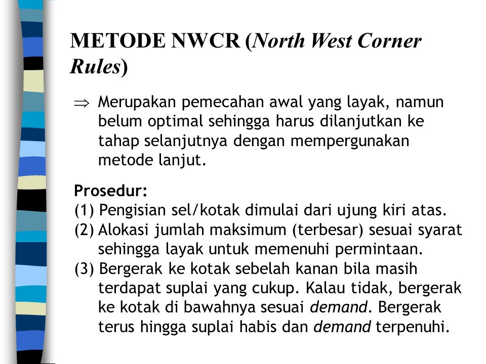 METODE NWCR (North West Corner Rules)