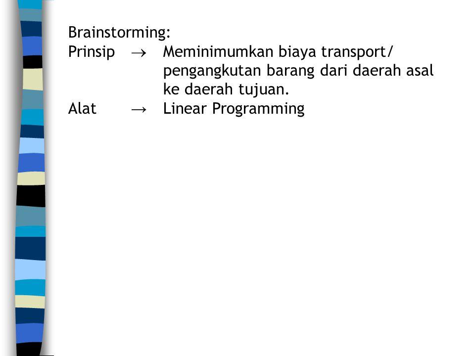 Brainstorming: Prinsip  Meminimumkan biaya transport/ pengangkutan barang dari daerah asal ke daerah tujuan.