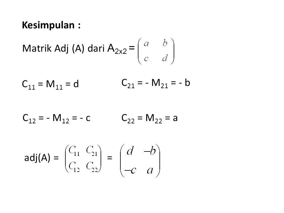 Kesimpulan : Matrik Adj (A) dari A2x2 = C11 = M11 = d. C12 = - M12 = - c. C21 = - M21 = - b. C22 = M22 = a.