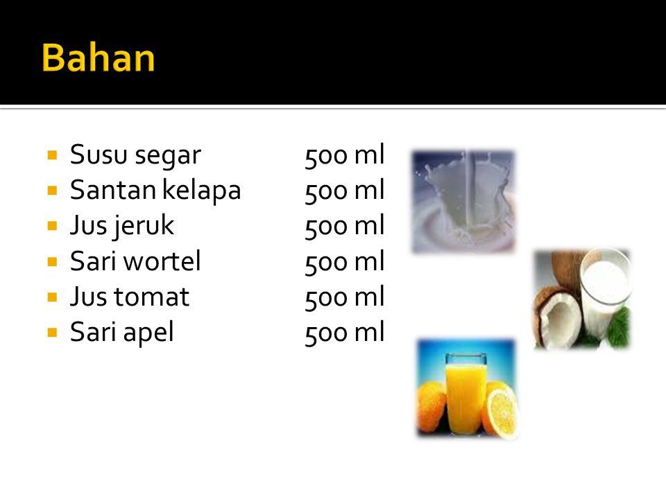 Bahan Susu segar 500 ml Santan kelapa 500 ml Jus jeruk 500 ml