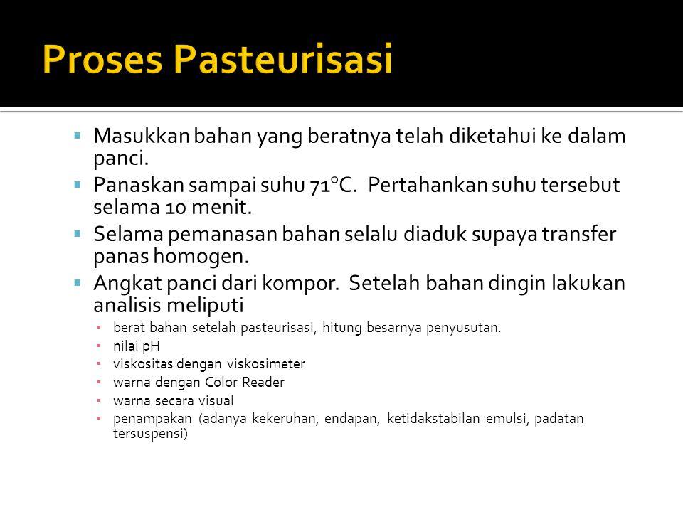 Proses Pasteurisasi Masukkan bahan yang beratnya telah diketahui ke dalam panci.