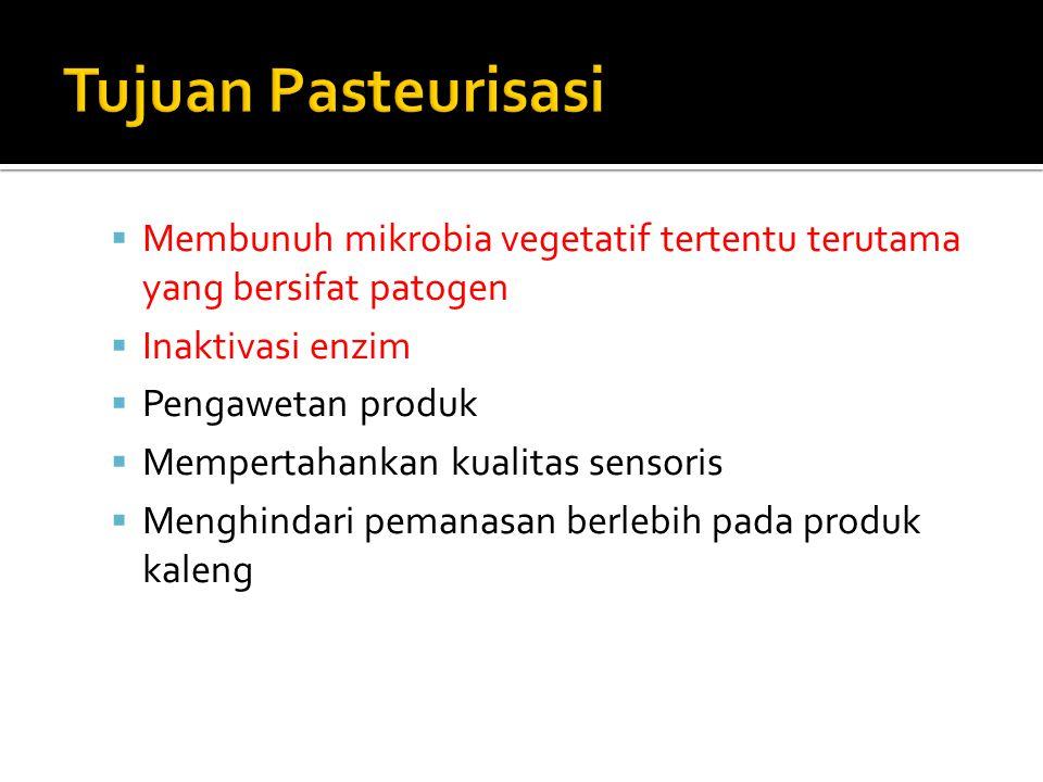 Tujuan Pasteurisasi Membunuh mikrobia vegetatif tertentu terutama yang bersifat patogen. Inaktivasi enzim.