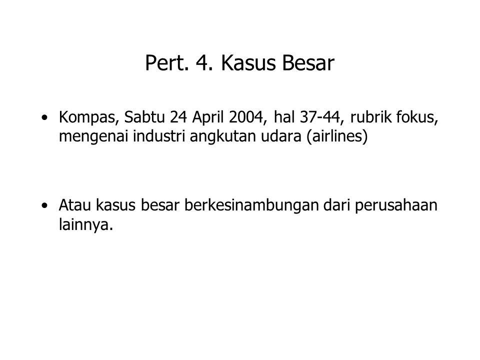 Pert. 4. Kasus Besar Kompas, Sabtu 24 April 2004, hal 37-44, rubrik fokus, mengenai industri angkutan udara (airlines)