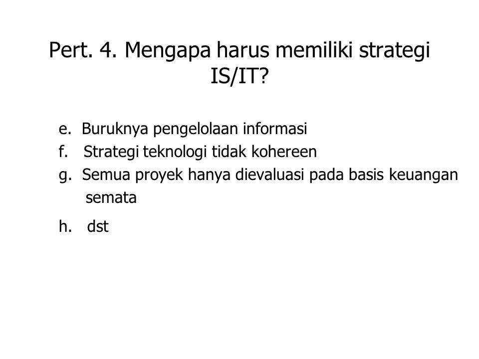 Pert. 4. Mengapa harus memiliki strategi IS/IT