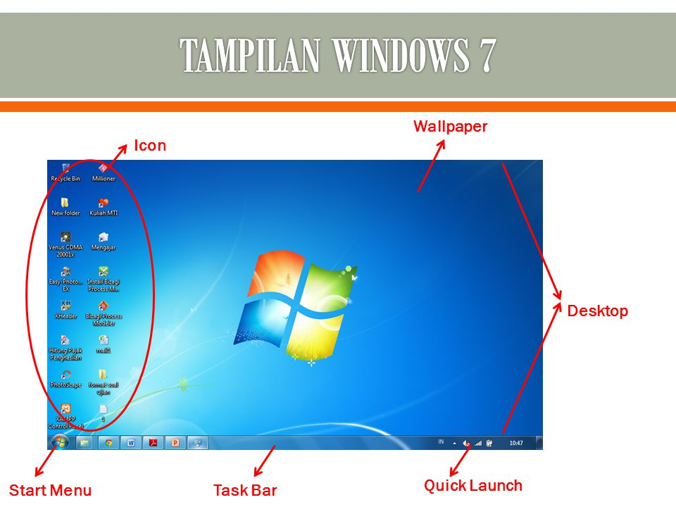 TAMPILAN WINDOWS 7 Wallpaper Icon Desktop Quick Launch Start Menu
