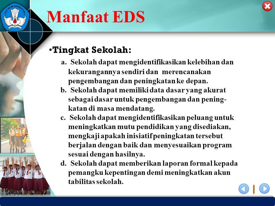 Manfaat EDS Tingkat Sekolah: