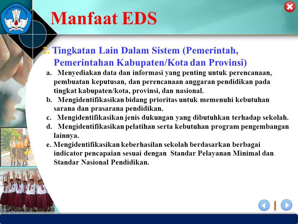 Manfaat EDS 2. Tingkatan Lain Dalam Sistem (Pemerintah, Pemerintahan Kabupaten/Kota dan Provinsi)