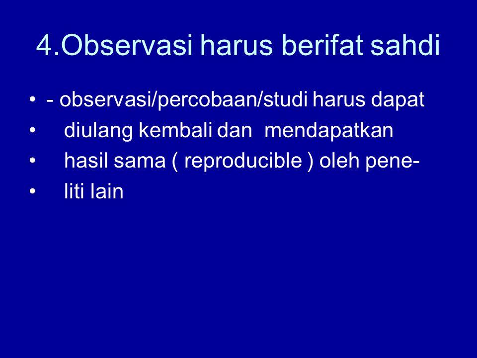 4.Observasi harus berifat sahdi