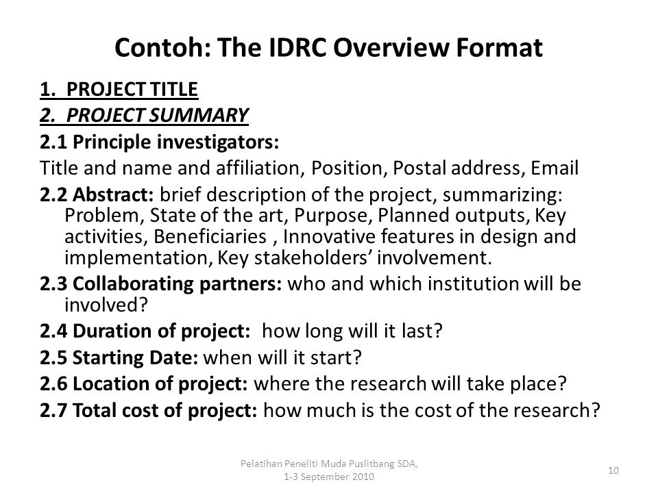 Contoh: The IDRC Overview Format