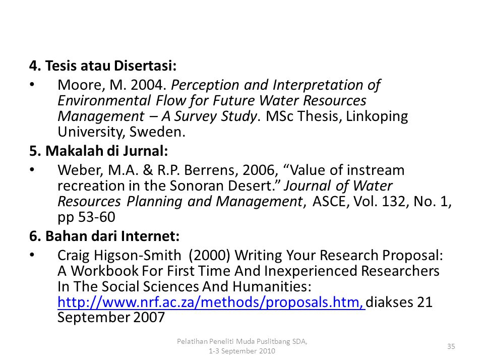 Pelatihan Peneliti Muda Puslitbang SDA, 1-3 September 2010