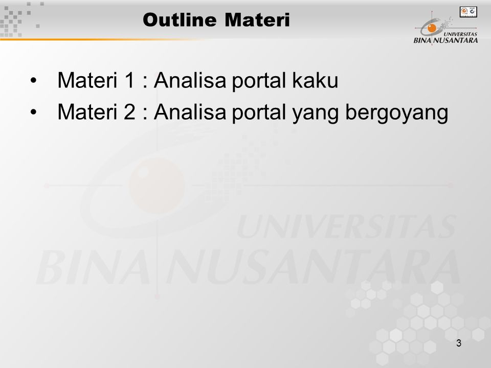 Materi 1 : Analisa portal kaku
