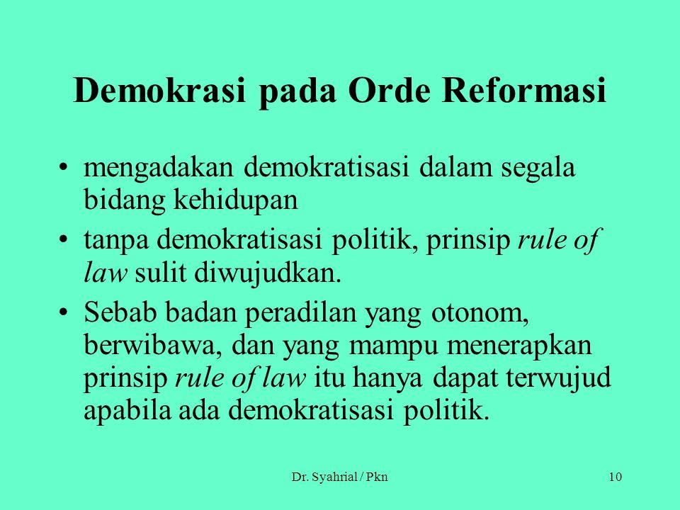 Demokrasi pada Orde Reformasi