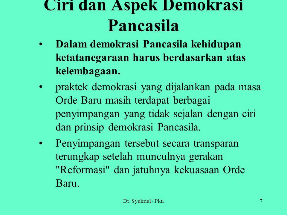 Ciri dan Aspek Demokrasi Pancasila