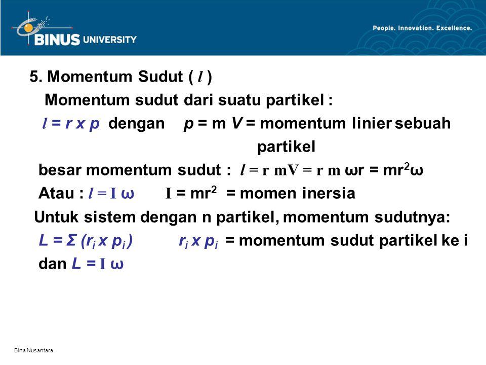 Momentum sudut dari suatu partikel :