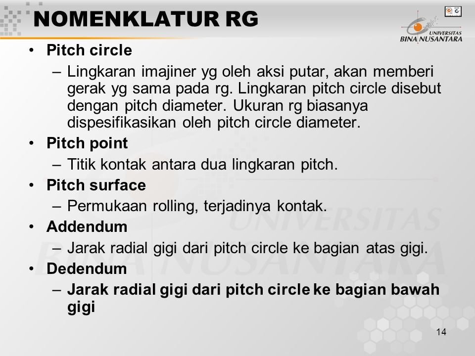 NOMENKLATUR RG Pitch circle