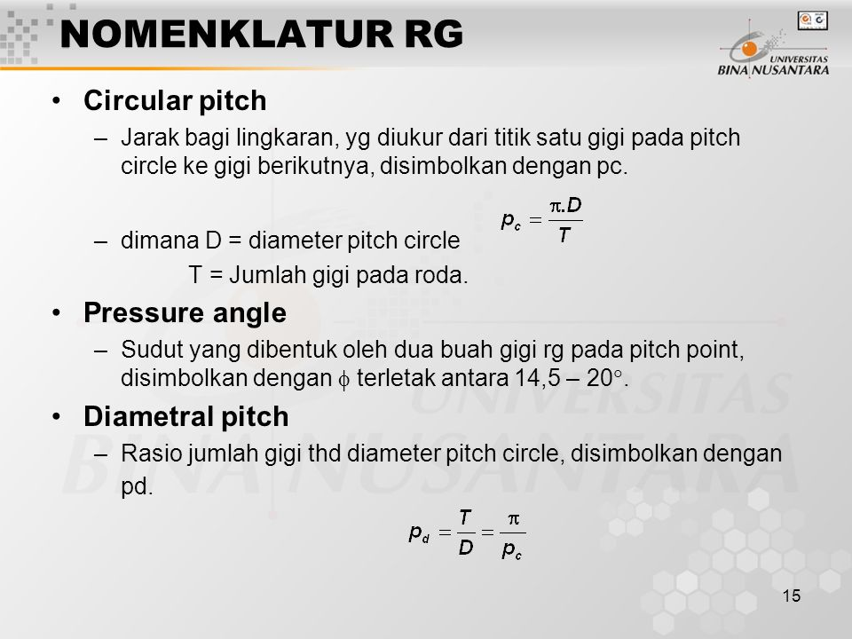 NOMENKLATUR RG Circular pitch Pressure angle Diametral pitch