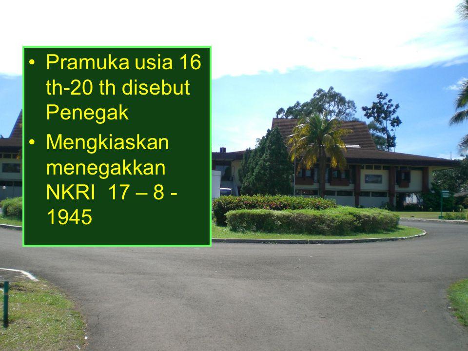 Pramuka usia 16 th-20 th disebut Penegak