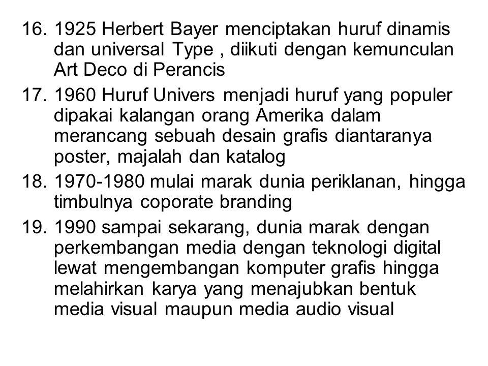 1925 Herbert Bayer menciptakan huruf dinamis dan universal Type , diikuti dengan kemunculan Art Deco di Perancis