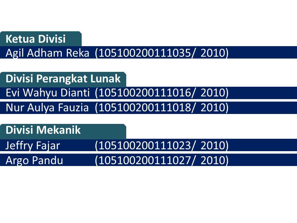 Ketua Divisi Agil Adham Reka (105100200111035/ 2010) Divisi Perangkat Lunak. Evi Wahyu Dianti (105100200111016/ 2010)