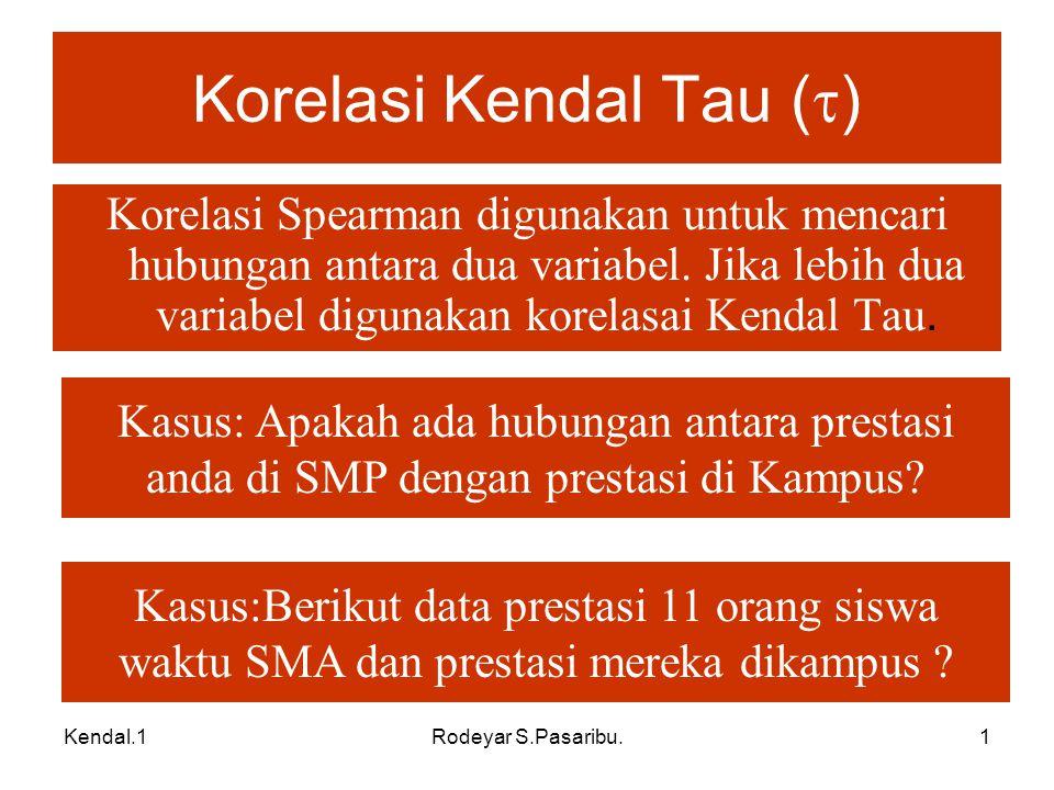Korelasi Kendal Tau ()