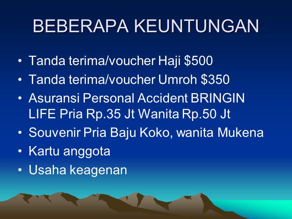 BEBERAPA KEUNTUNGAN Tanda terima/voucher Haji $500