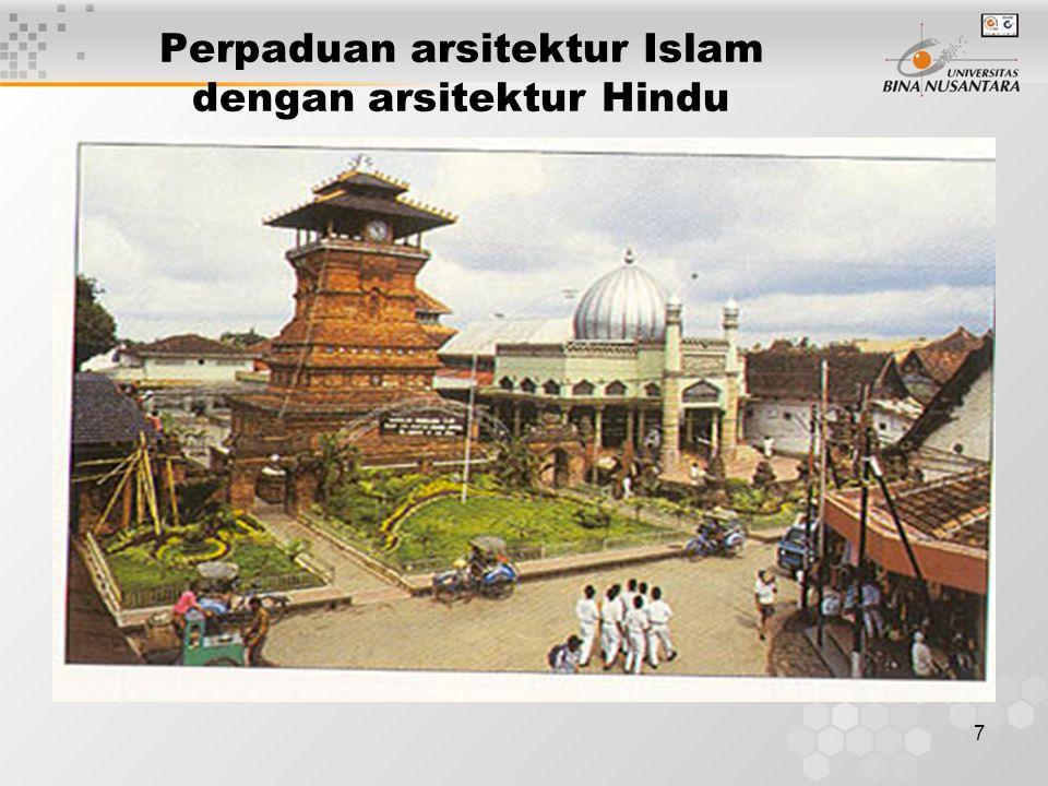 Perpaduan arsitektur Islam dengan arsitektur Hindu