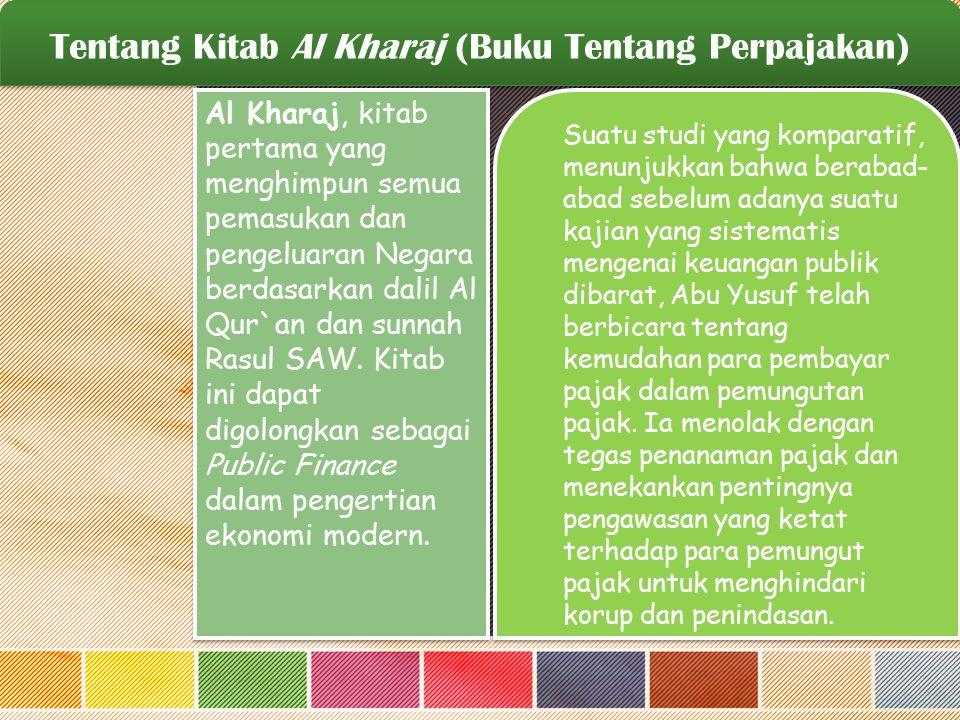 Tentang Kitab Al Kharaj (Buku Tentang Perpajakan)