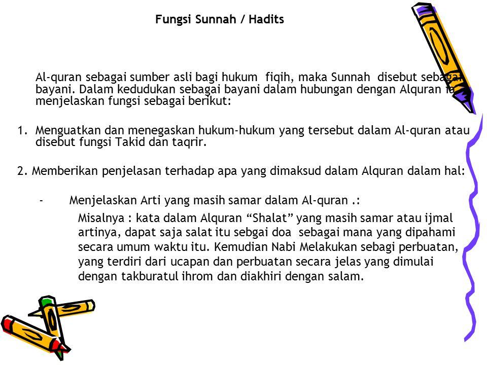 Fungsi Sunnah / Hadits