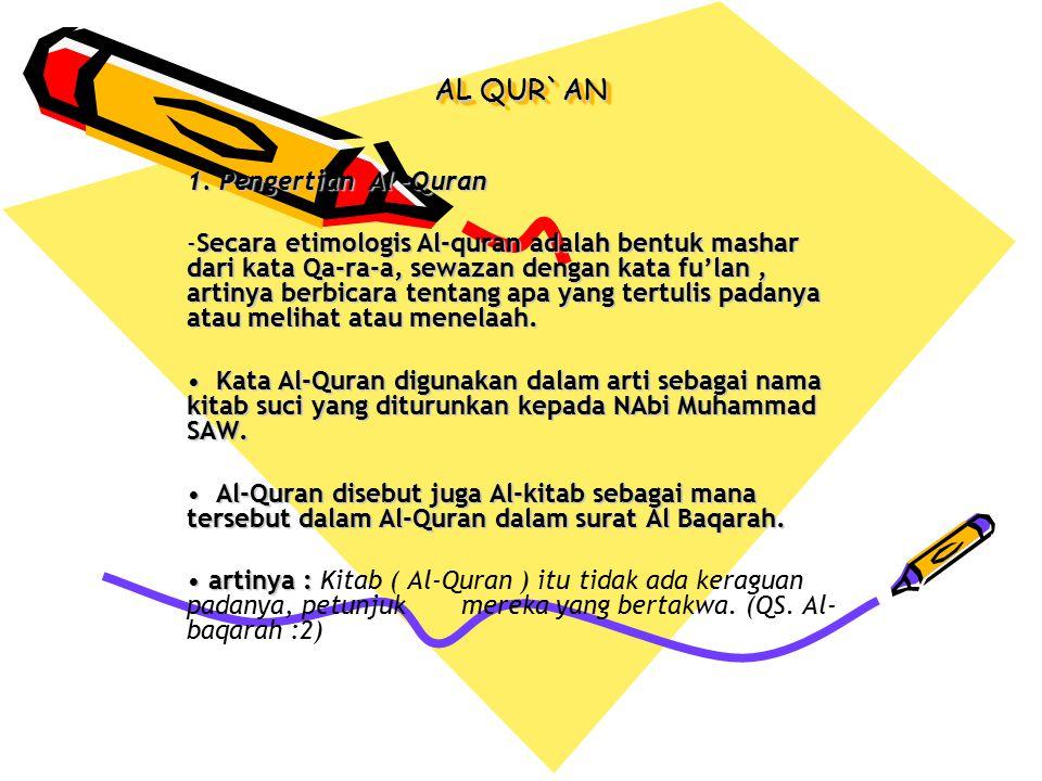AL QUR`AN 1. Pengertian Al –Quran