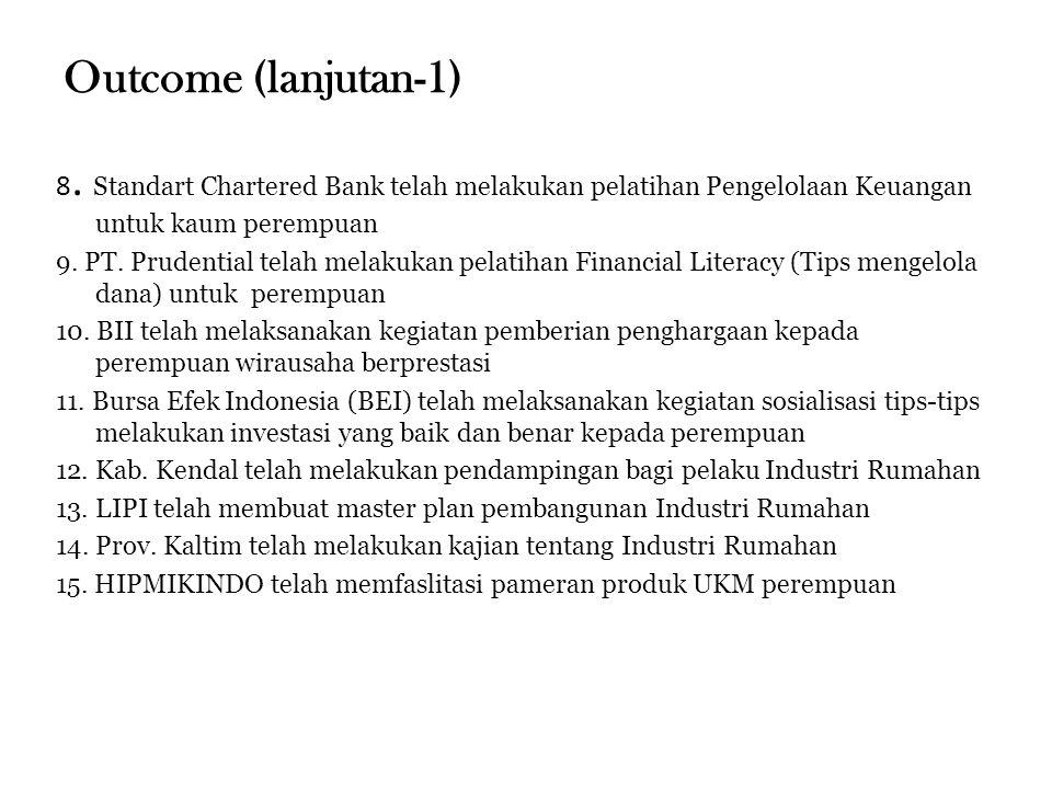 Outcome (lanjutan-1) 8. Standart Chartered Bank telah melakukan pelatihan Pengelolaan Keuangan untuk kaum perempuan.