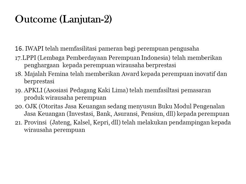 Outcome (Lanjutan-2) 16. IWAPI telah memfasilitasi pameran bagi perempuan pengusaha.