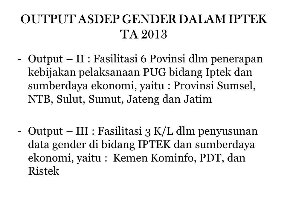 OUTPUT ASDEP GENDER DALAM IPTEK TA 2013