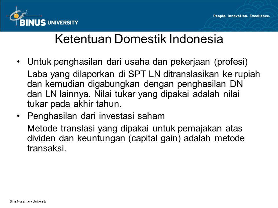 Ketentuan Domestik Indonesia