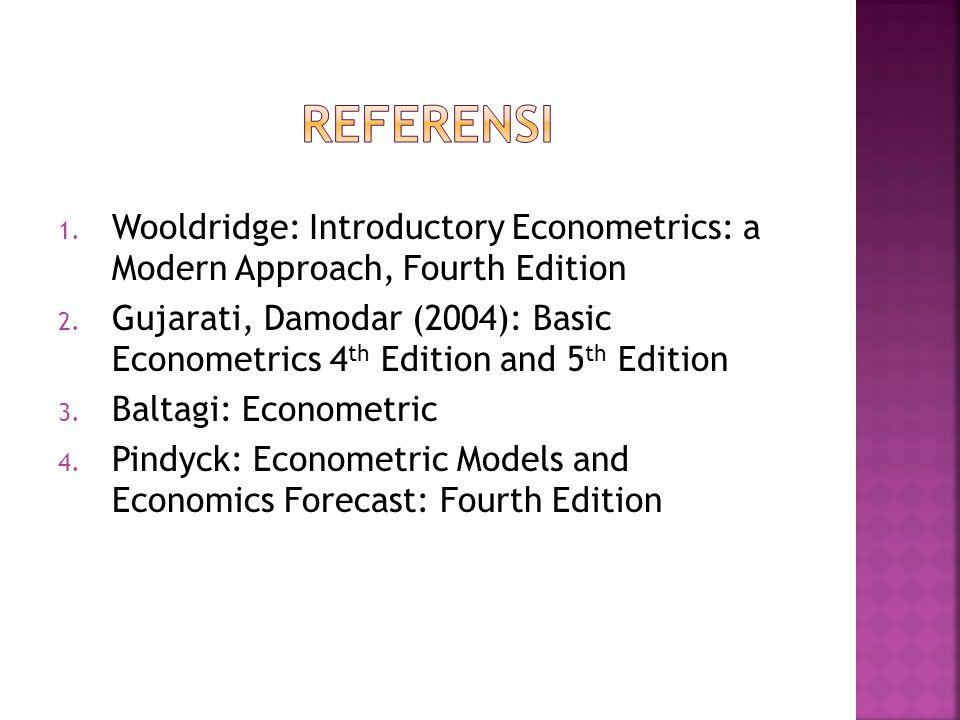 Referensi Wooldridge: Introductory Econometrics: a Modern Approach, Fourth Edition.