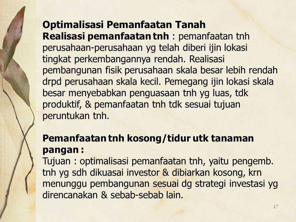 Optimalisasi Pemanfaatan Tanah
