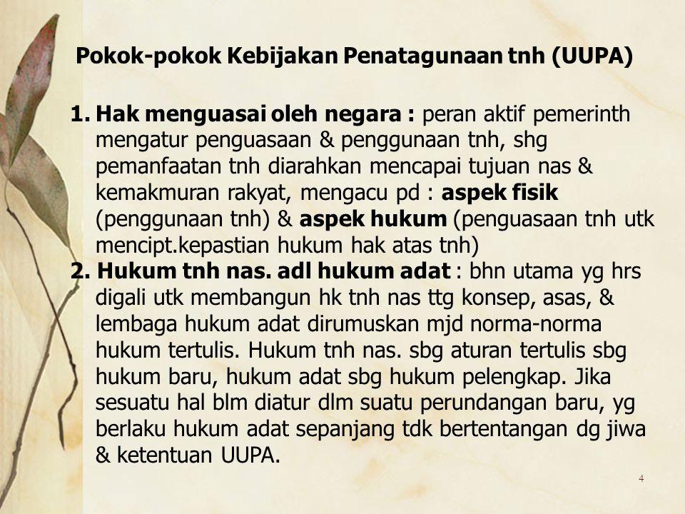 Pokok-pokok Kebijakan Penatagunaan tnh (UUPA)