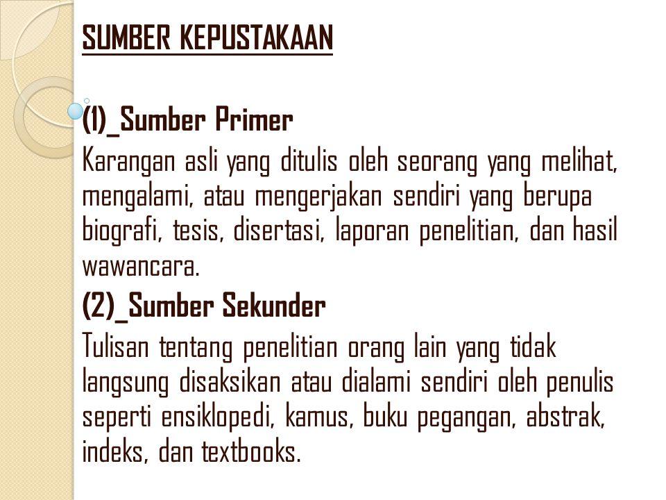 SUMBER KEPUSTAKAAN (1)_Sumber Primer.