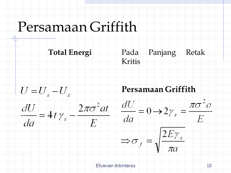 Persamaan Griffith Persamaan Griffith Total Energi