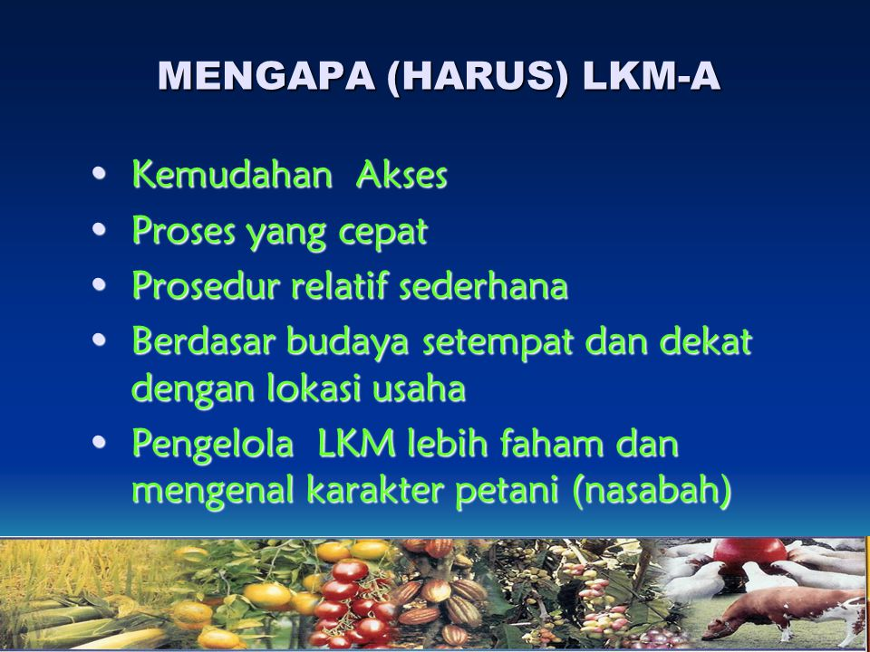 MENGAPA (HARUS) LKM-A Kemudahan Akses. Proses yang cepat. Prosedur relatif sederhana. Berdasar budaya setempat dan dekat dengan lokasi usaha.