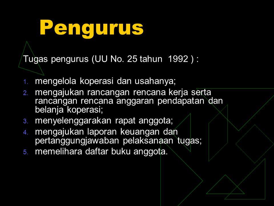Pengurus Tugas pengurus (UU No. 25 tahun 1992 ) :