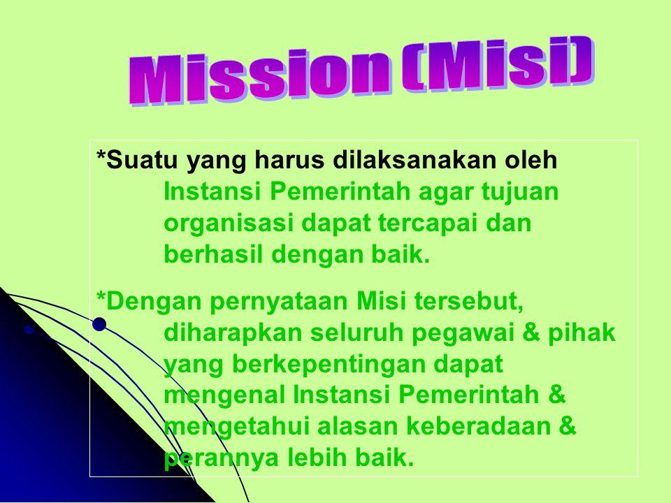 Mission (Misi) *Suatu yang harus dilaksanakan oleh Instansi Pemerintah agar tujuan organisasi dapat tercapai dan berhasil dengan baik.
