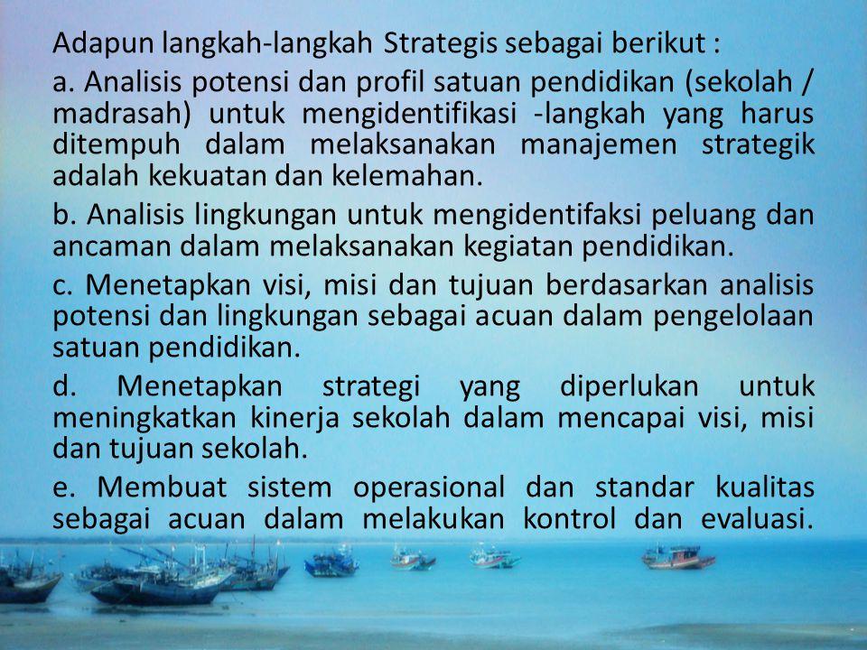 Adapun langkah-langkah Strategis sebagai berikut :