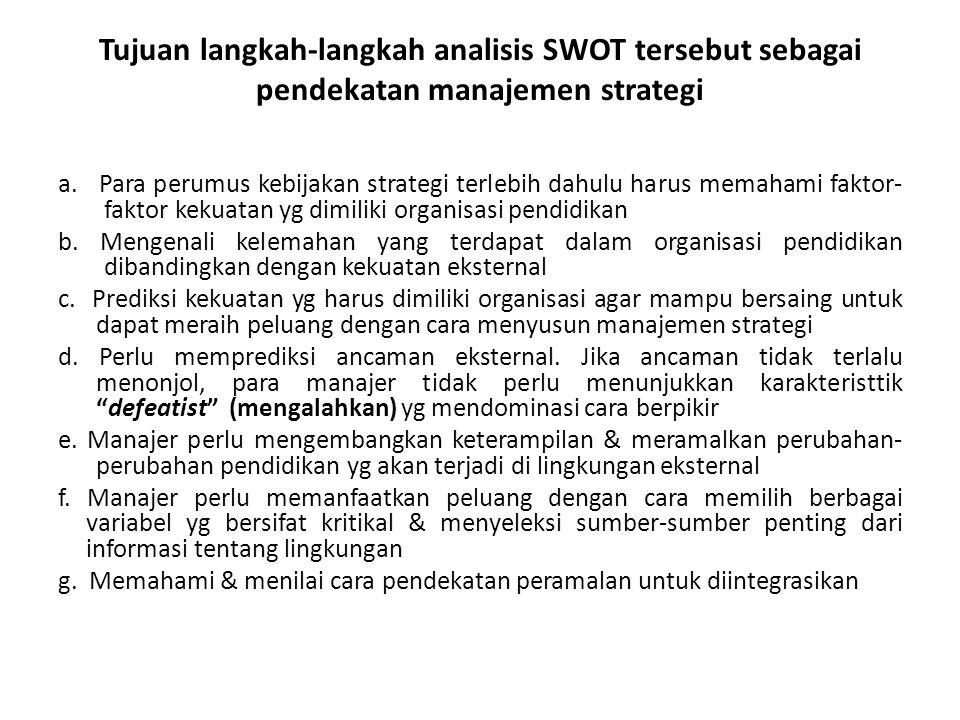 Tujuan langkah-langkah analisis SWOT tersebut sebagai pendekatan manajemen strategi