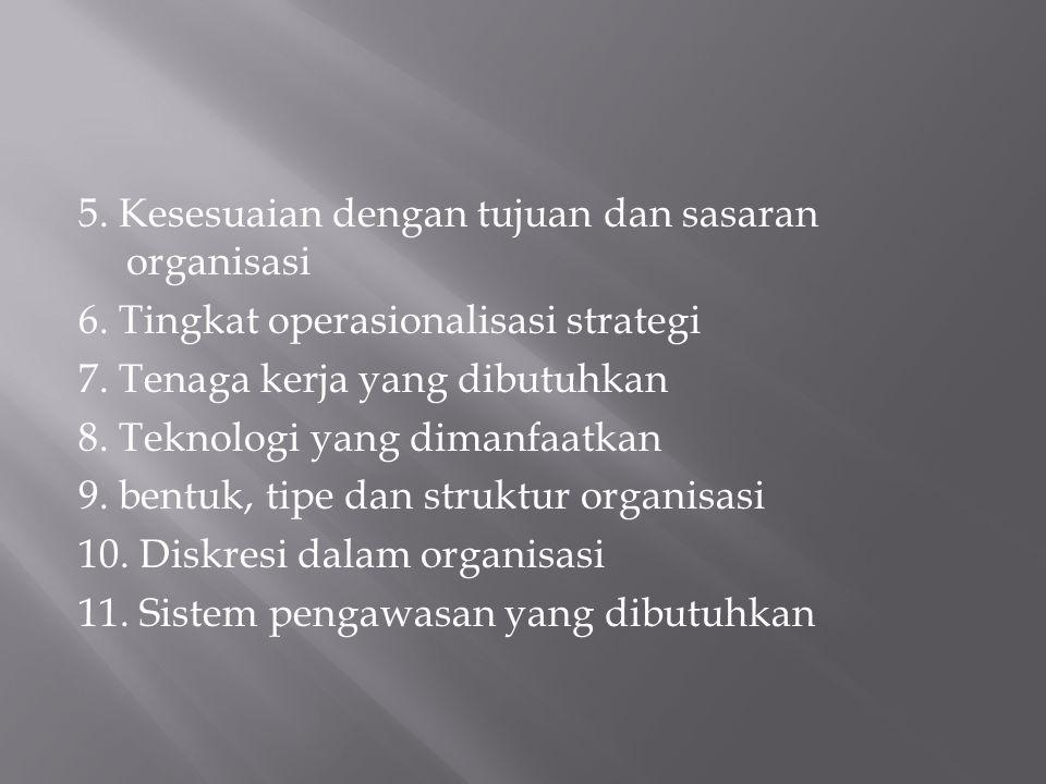 5. Kesesuaian dengan tujuan dan sasaran organisasi 6